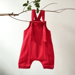 Jardineira Moletinho Infantil Vermelha - Tamanho G