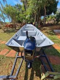 Barco completo com motor mercury 18hp novo * Itamar