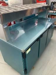 Balcão refrigerado para montagem de lache,cachorro quente,pizzas etc.