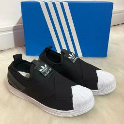 Tênis Adidas Slip on Branco com preto elástico Unissex