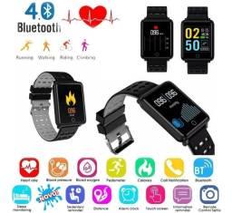 Relógio Smart Novo Notifica App Mede Coração Pressão Oximetro