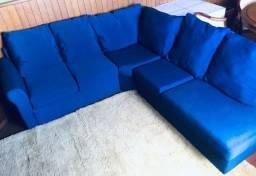 Título do anúncio: Sofá De Canto Azul / Dimensões : 2,40 m  x  2,20 metros / Com Puff De 0,80 cm  x 0,80 cm