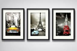 Kit quadros Londres, Paris, Nova York
