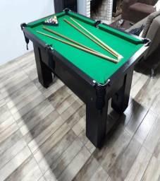 Mesa de Bilhar Cor Tabaco Tecido Verde Mod. DOAW1483