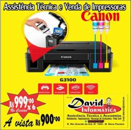 Impressora Multifuncional com Bulk de Tinta Canon G3100 Wireless Produto Novo