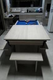 Mesa Residencial Cor Branca Tecido Azul Mod. SAQI1840