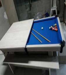 Mesa de Redinha Cor Branca Tecido Azul Mod. RWXW2597