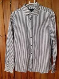 138 - Camisa social masculina branca listrada - Tam M