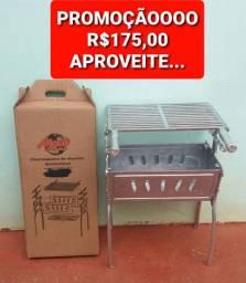 CHURRASQUEIRA GRANDE DE ALUMÍNIO FUNDIDO, COMPLETA, NOVA. PROMOÇÃO