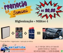 Higienização + Aplicação de Militec-1 - R$ 90,00