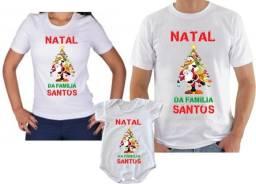 Kit camiseta +body para o natal em familia com 3