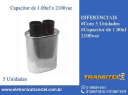Capacitor 1.00UF x 2100VAC com 5 Unidades