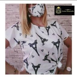 T-shirt feminina Paris com Máscara
