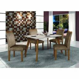 Título do anúncio: Mesa de Jantar Lavínia Imbuia Vidro Off 120X80 com 4 Cadeiras
