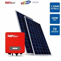 GERADOR SOLAR 1,32KWP INVERSOR REFUSOL 3,3KWP 4 PAINEIS 330W ODEX SEM ESTRUTURA<br><br>