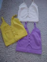 Cropped tricô modal veste lindo