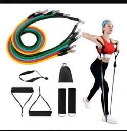 Kit elástico 11 peças Musculação em casa é os ar Livre