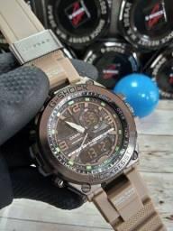 Relógio masculino preto duplo horário g-shock estilo militar marrom