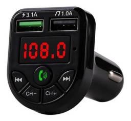 Carregador Veicular Voltímetro Com Bluetooth Mp3 No Rádio
