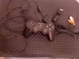 Controle e cabo de imagem do PlayStation 2