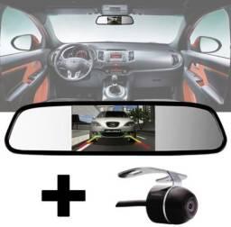 Kit estacionamento Espelho Retrovisor Monitor Tela Lcd 4.3 + Câmera Ré Carro Van Escolar