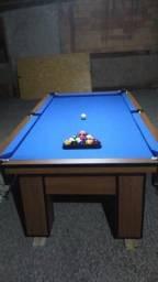 Mesa de Sinuca Cor Imbuia Tecido Azul Mod. VFDV8197