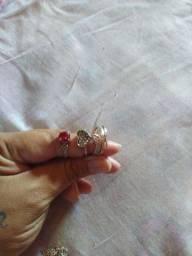 3 anéis e 1 cordão prata 925 só 140