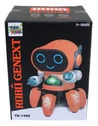 Robo De Brinquedo Dançando Som E Led Robô Genext