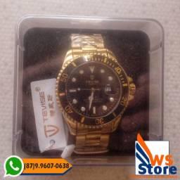 Relógio de Luxo Dourado Masculino Tevise T801