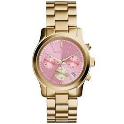 Relógio Michael Kors Feminino Rumway Cronógrafo Dourado e Rosa