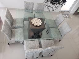 Mesa de jantar 1,60 x 1,60 tampo de vidro c/ 8 cadeiras