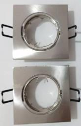 Par de spots de led de embutir em aço escovado formato quadrado