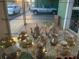 Jogo de chá e café porcelana folheada a ouro (steatita)