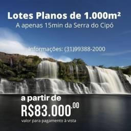 Oportunidade. Lote Plano de 1.000m² a 15min das Cachoeiras do Cipó
