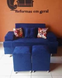 Sofa dois lugares +2 puff +3 almofadas decorativas