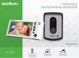 Kit Vídeo Porteiro Intelbras iv 7010 hf Tela lcd 7 Viva Voz Bivolt