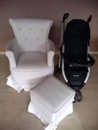 Poltrona de amamentação+ Puff e Carrinho de bebê 3 rodinhas