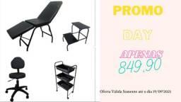 Título do anúncio: Kit Completo Basic Estética - Maca/Mocho/Carrinho e Escada - Varias Cores