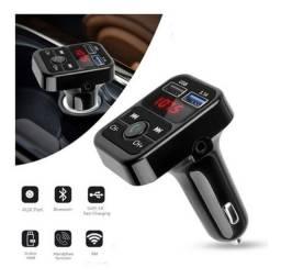 Carregador Veicular Voltímetro Bluetooth Mp3 Transmissor Fm