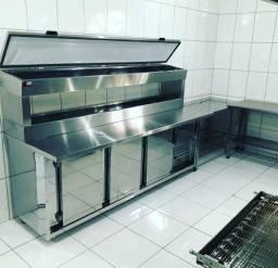 Balcão condimentadora refrigerado inox