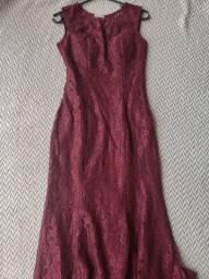 Vestido longo vinho