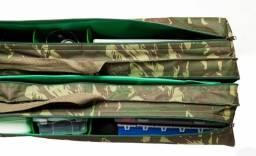 Porta varas 1,80m camuflado com suporte para 6 varas com 16 bolsos