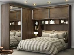 Guarda-roupa Casal 4 Portas de Correr 5 Gavetas - Móveis Europa Milão 12.033 com Espelho