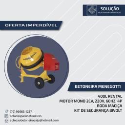 Betoneira 400 Litros Rental com Motor 220v monofásico com Kit de Segurança - MENEGOTTI