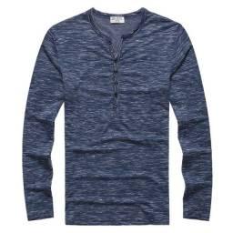Camisa Masculina Henley Manga Longa M - Azul