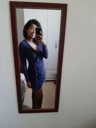 Vestido de luxo de lurex azul marinho, tamanho M