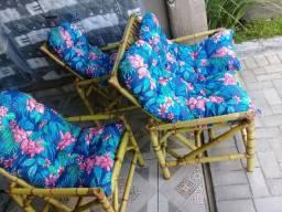 Jogo de cadeiras de bambu com almofadas novas várias corres estampas lindo design