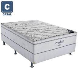 ::Conjunto Cama Box Colchao Freedom Ortobom Casal (138x188) A Pronta Entrega;;