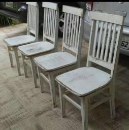 Jg 4 cadeiras dep santa fé peroba patinada usado
