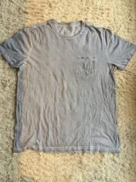 Camiseta Renner Cor Cinza Blue Steel Com Bolso 100% Algodão Tamanho G Impecável!